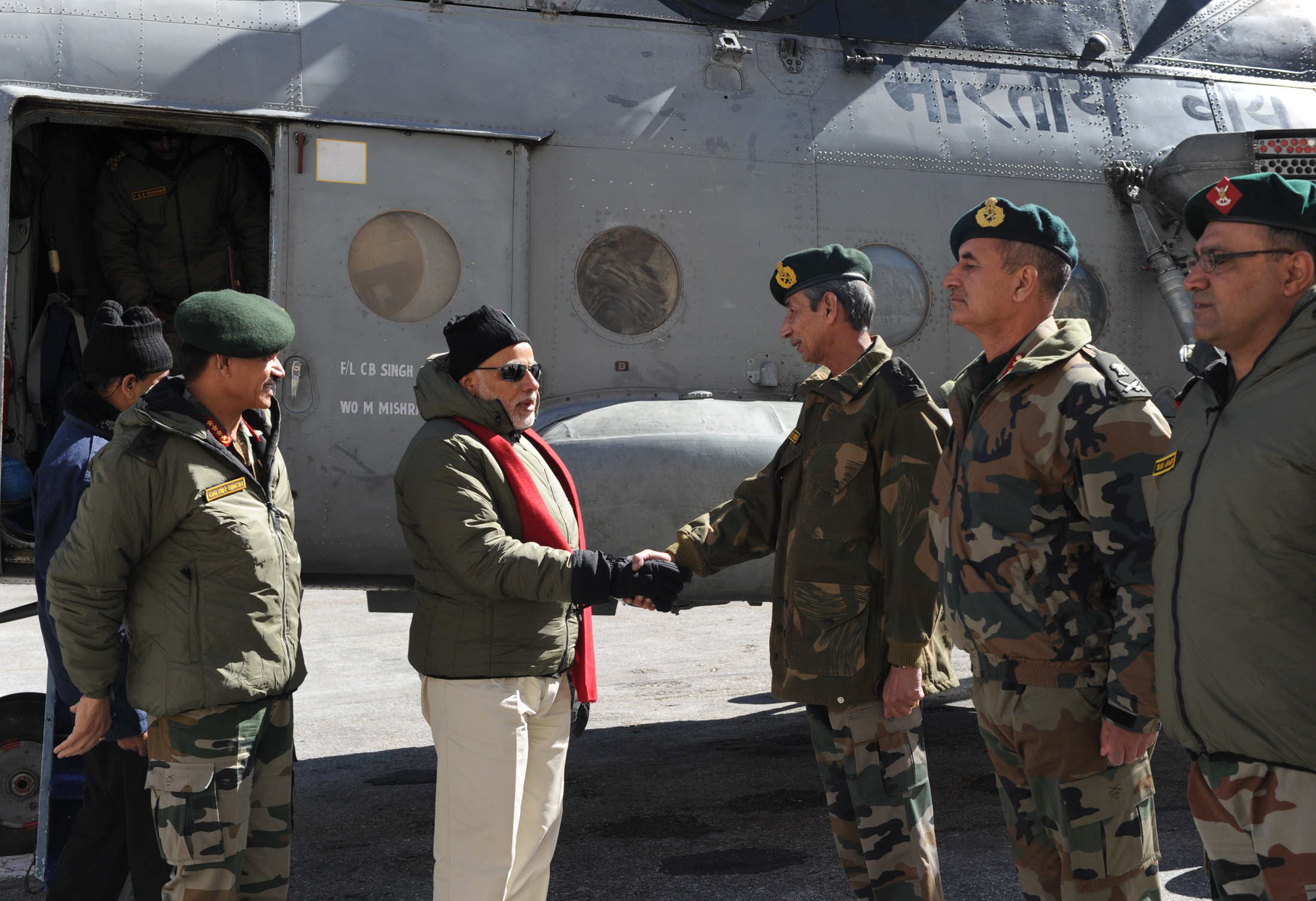 The Prime Minister, Shri Narendra Modi arrives at Siachen Base Camp, during his surprise visit to Siachen on October 23, 2014.
