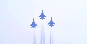 Three SU-30 MKI fighter planes fly over Rajpath, on the occasion