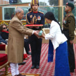 The President, Shri Pranab Mukherjee giving away the Highest Gallantry Award Ashoka Chakra to Havildar Hangpan Dada, the Assam Regiment /35th Battalion the Rashtriya Rifles (posthumously), the award received by his wife Mrs. Chasen Lowang Dada, on the occasion of the 68th Republic Day Parade 2017, at Rajpath in New Delhi on January 26, 2017.
