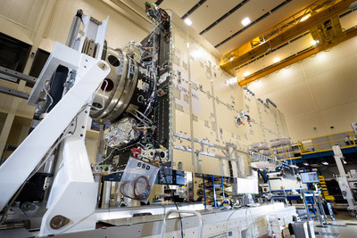 In a clean room near Denver, Lockheed Martin's first modernized A2100 satellite has undergone the important integration process of three major subsystems. (PRNewsfoto/Lockheed Martin)