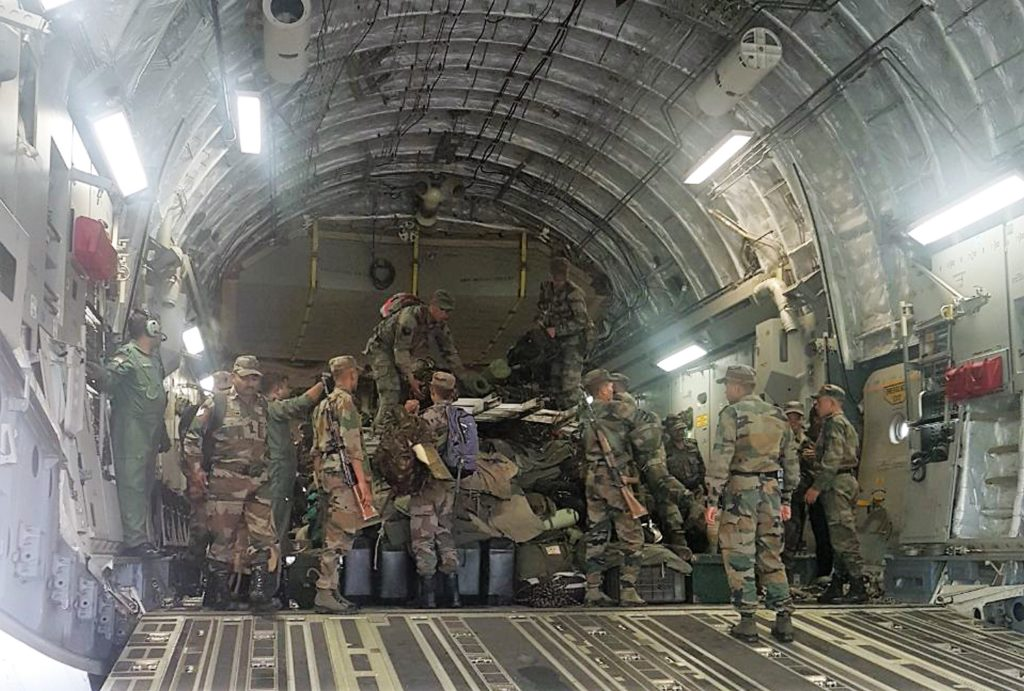 IAF Transport Aircraft C-17 carrying Army and NDRF Teams for  Flood Relief Operations in Bihar on Aug 14, 2017