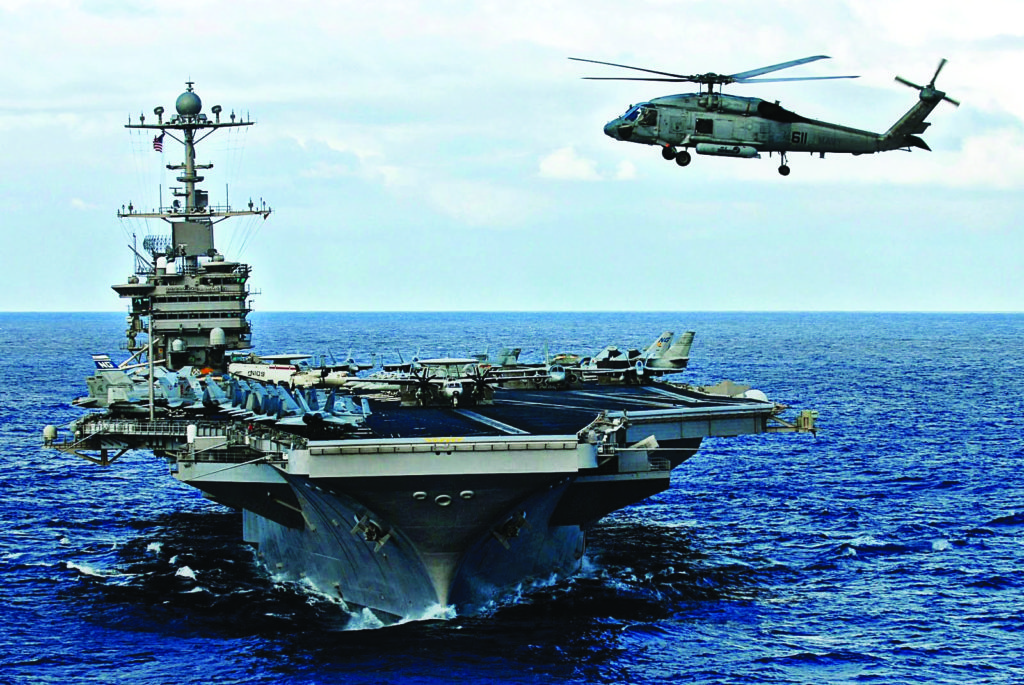 US Aircraft Carrier In Action Operating In The South China Sea