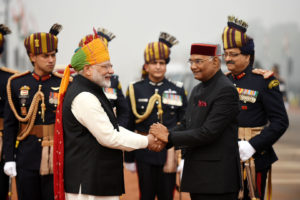 The Prime Minister, Shri Narendra Modi receiving the President, Shri Ram Nath Kovind, at Rajpath, on the occasion of the 69th Republic Day Parade 2018, in New Delhi on January 26, 2018.
