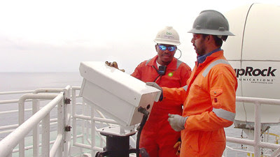 BP operators using the VISR flare monitor camera to inspect flare stacks at an offshore facility. Photo courtesy of BP.