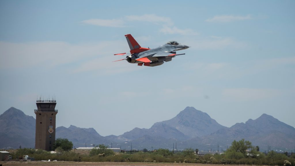 A Boeing QF-16 takes off from 309th Aerospace • Davis-Monthan Air Force Base, Arizona, June 4, 2020